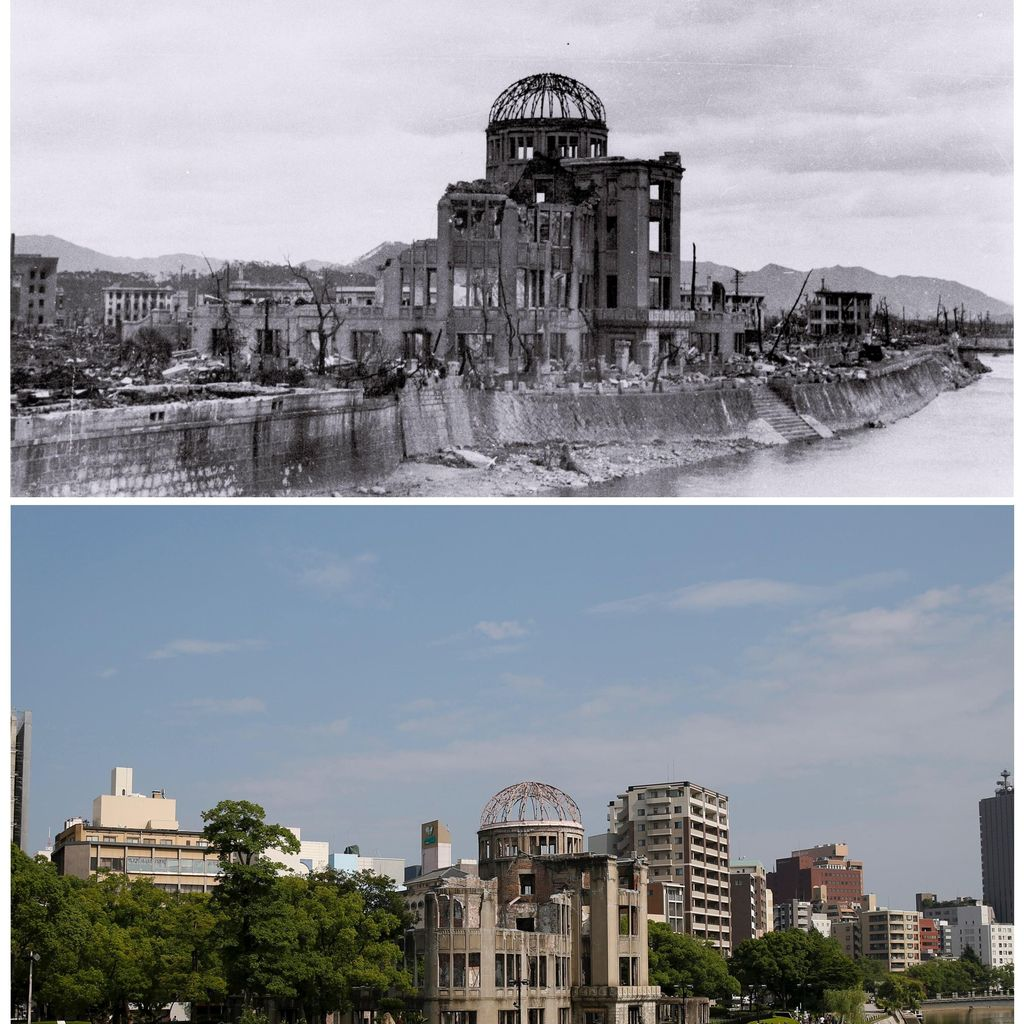 Penampakan <i>Before-After</i> 70 Tahun Bom Atom di Hiroshima