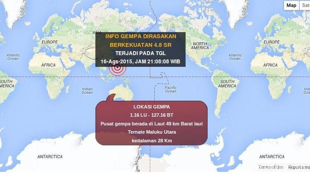 Gempa 4,8 SR Terjadi di Ternate Maluku Utara