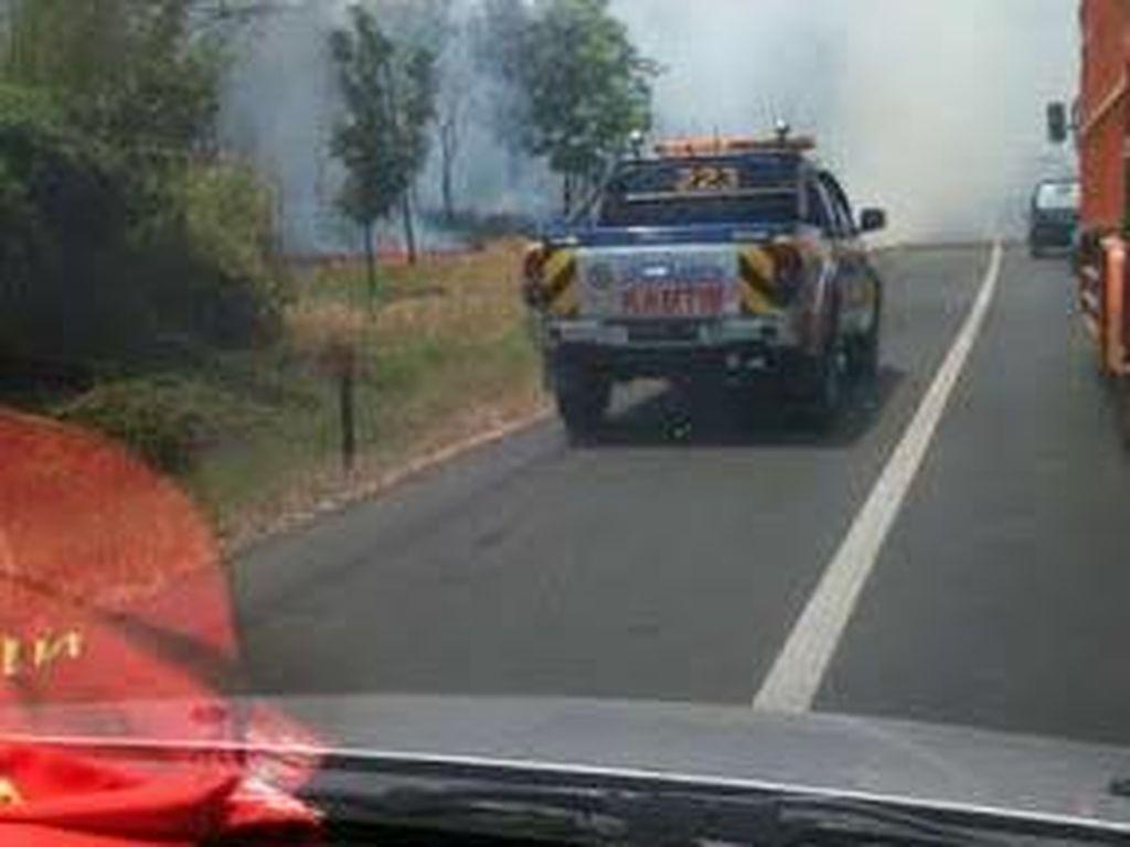 Hati-hati! Kebakaran Rumput di Pinggir Tol Jakarta-Cikampek, Macet 2 Km