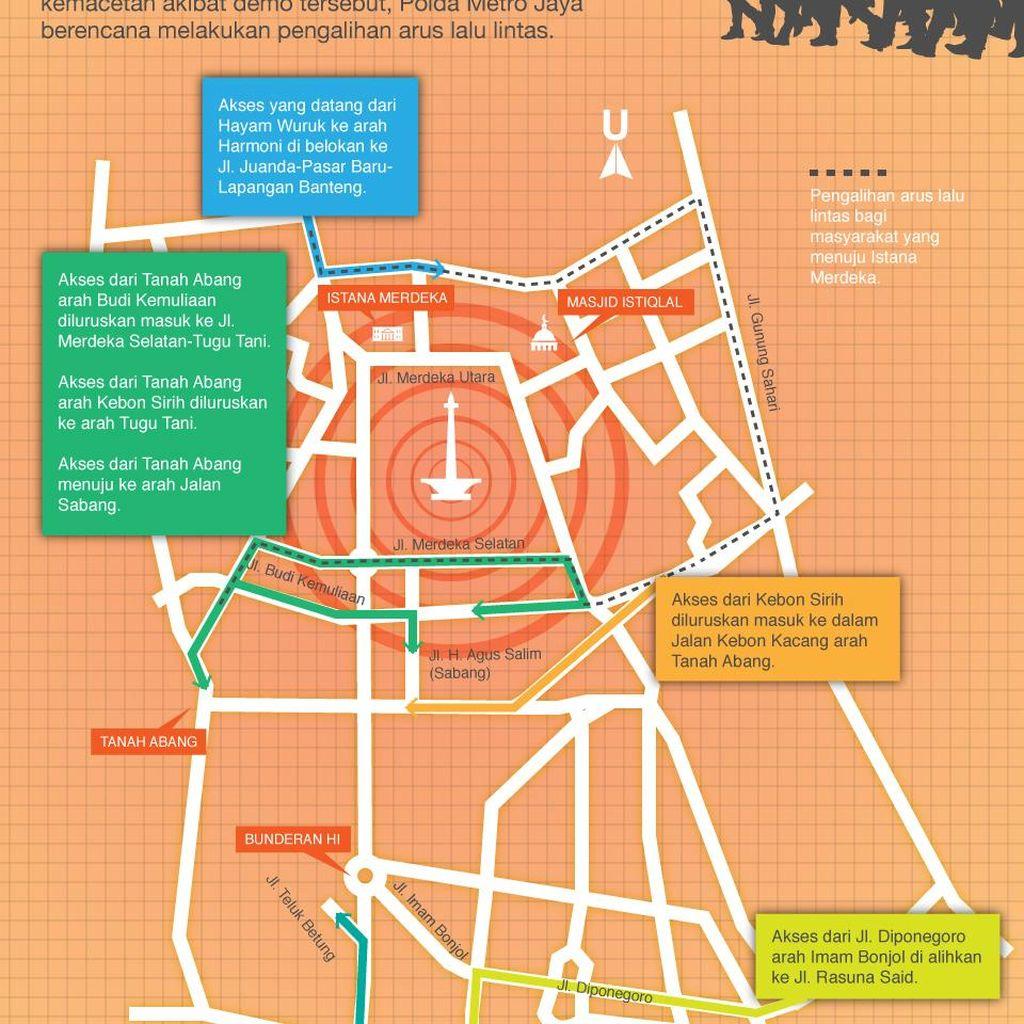 Begini Pengalihan Arus Lalin di Jakarta Antisipasi Demo Buruh Hari Ini