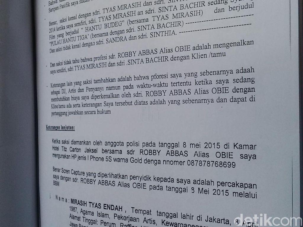 Tentang Amel Alvi, Tyas Mirasih dan Sinta Bachir di BAP Kasus Muncikari