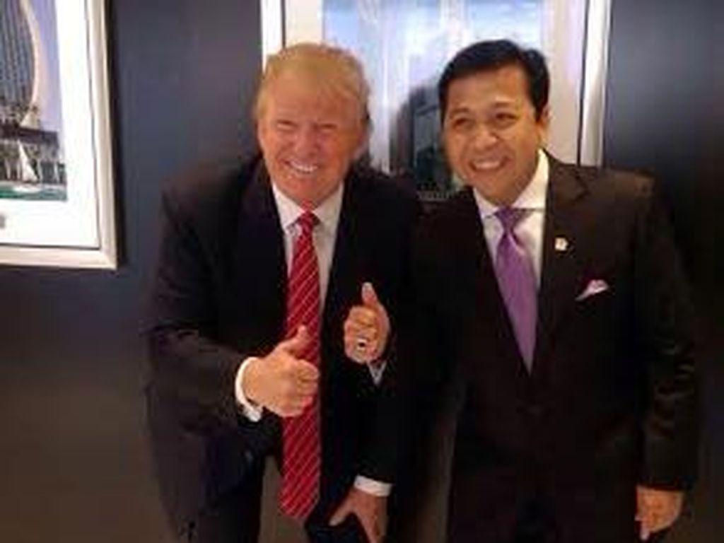 Bertemu di New York, Begini Pose Akrab Novanto dan Donald Trump