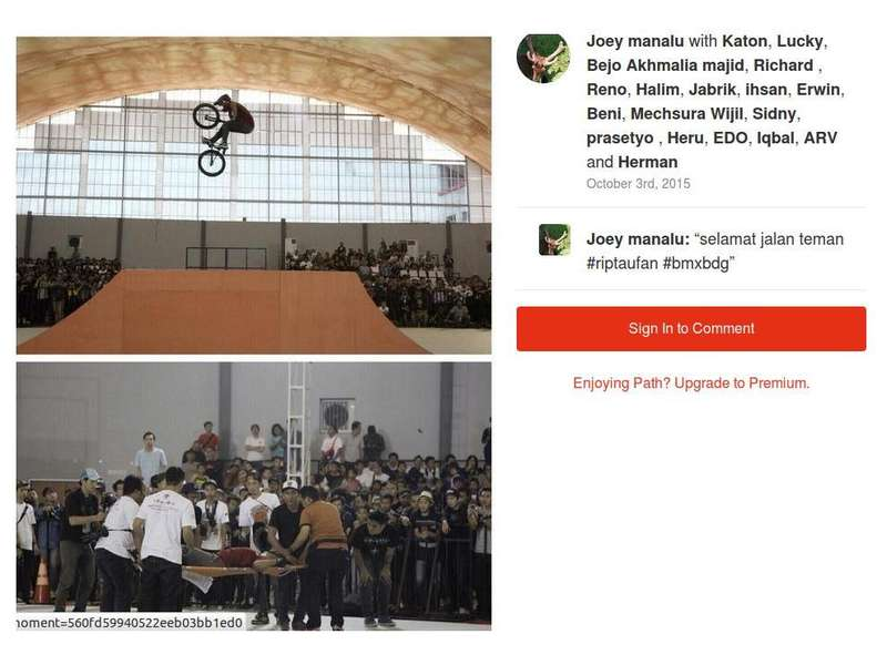 Pegiat BMX Indonesia Berduka Untuk Taufan: Selamat Jalan Best Rider