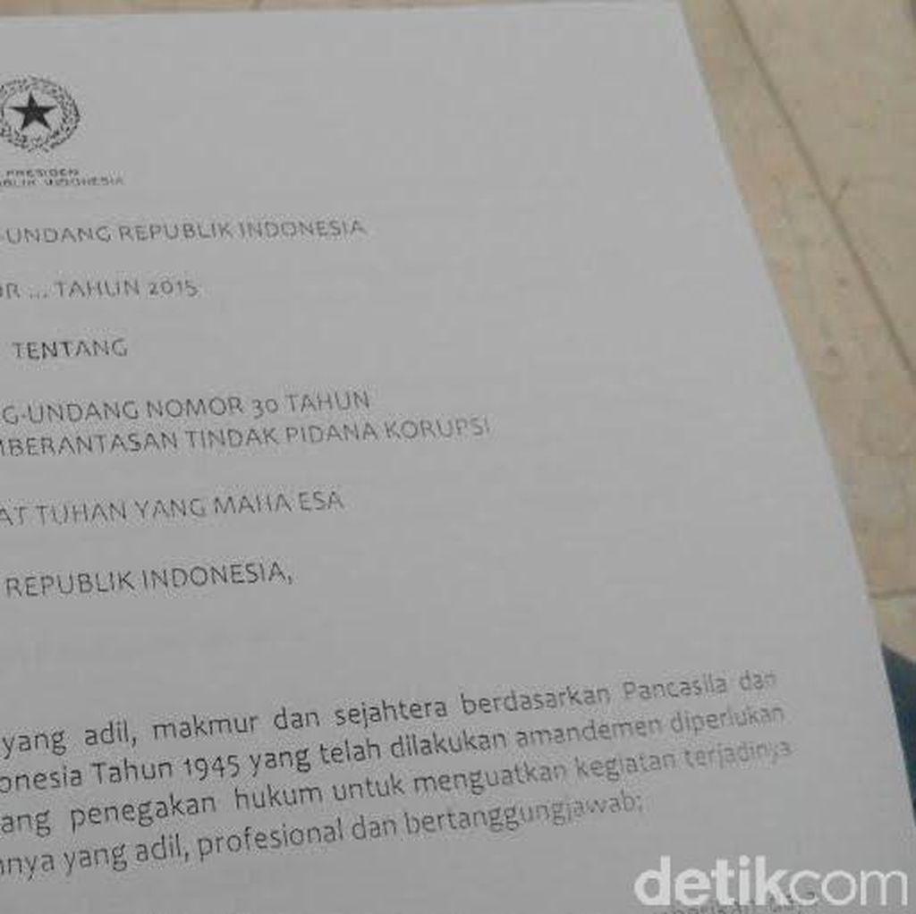 Draf Revisi UU KPK Berasal dari Pemerintah?