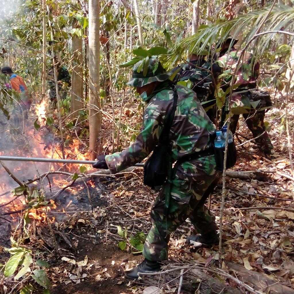 Prajurit Marinir Bahu-membahu Padamkan Kebakaran di Hutan Lindung Tangkoko