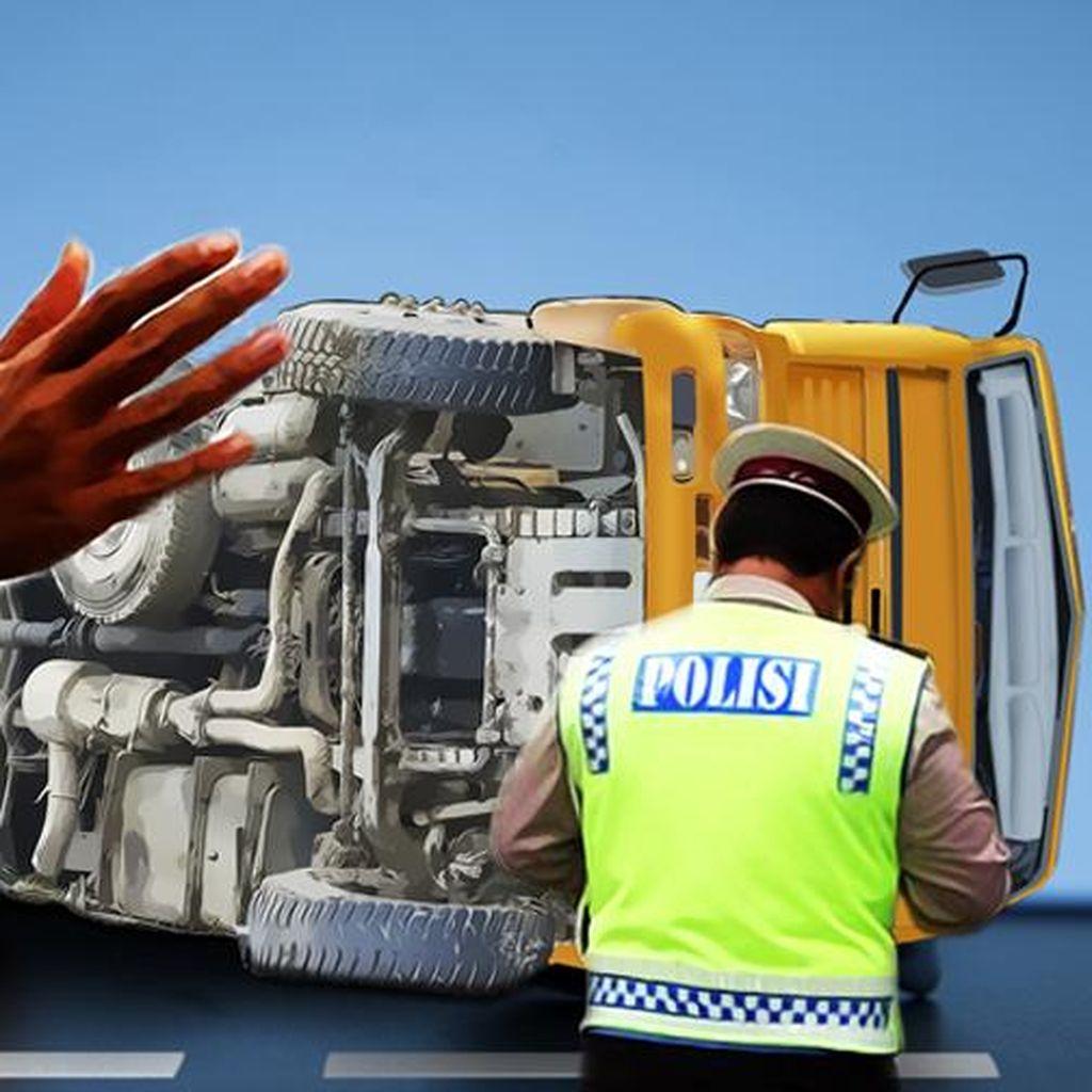 Truk Rem Blong di Wonosobo Seruduk Pos Polisi, 2 Orang Tewas