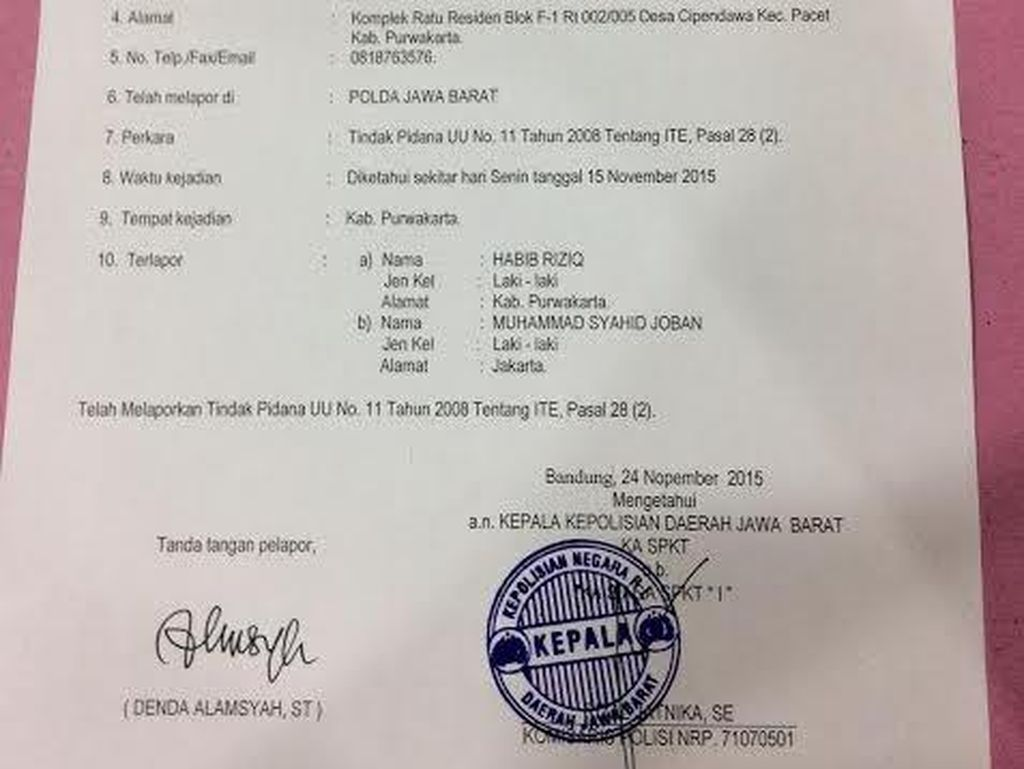 Polda Jabar: Laporan AMS Soal Tokoh FPI Habib Rizieq Masih Diproses