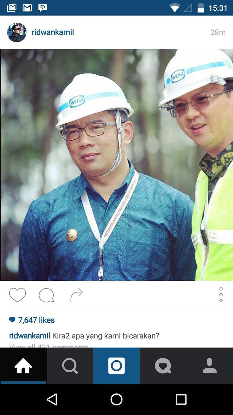Ridwan Kamil Pasang Foto Bareng Ahok Untuk Pilgub DKI 2017