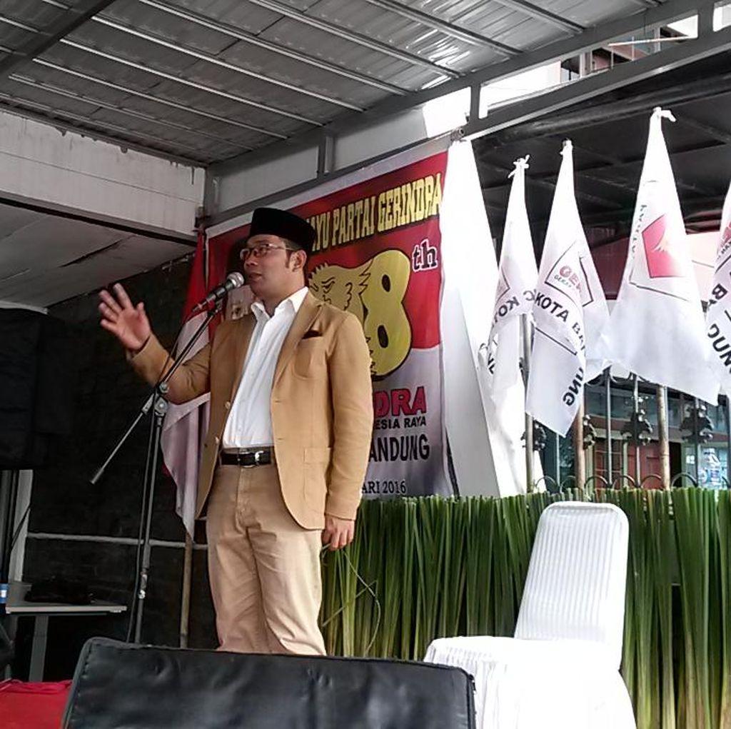 Ridwan Kamil Rayakan HUT Gerindra di Bandung, Semangati Kader untuk Bekerja