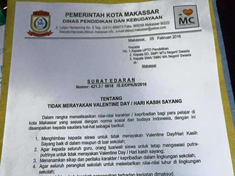 Makassar Terbitkan Surat Edaran Larangan Pelajar Rayakan Valentine