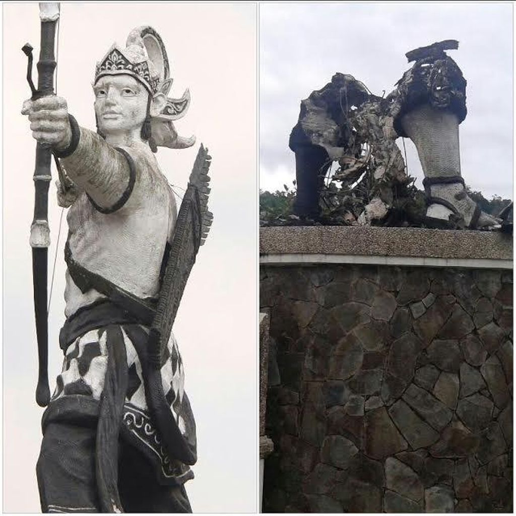 Kata Polisi, Begini Situasi saat Patung Arjuna di Purwakarta Dibakar Orang