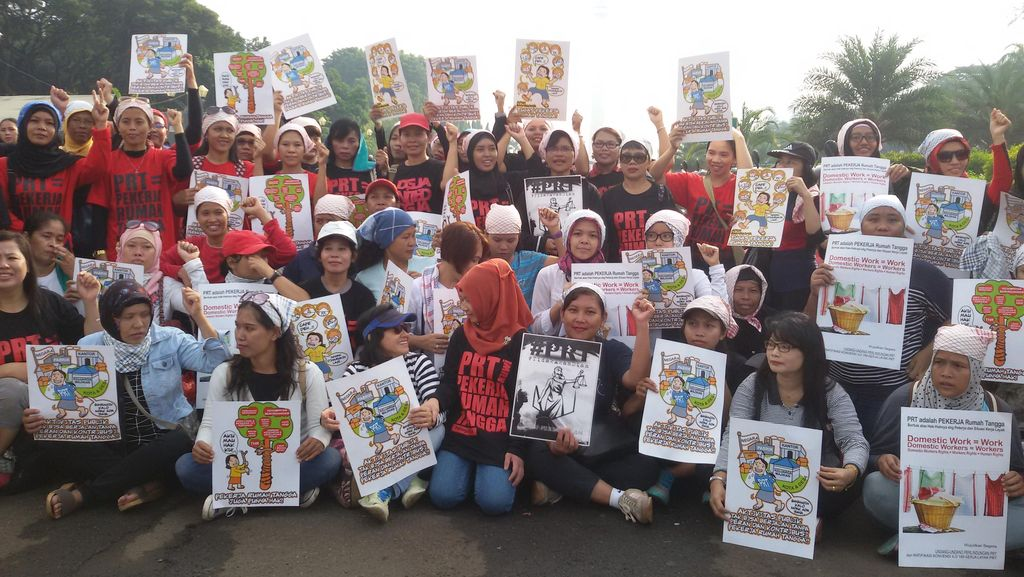Puluhan PRT Ikut Ramaikan Hari Buruh di Thamrin