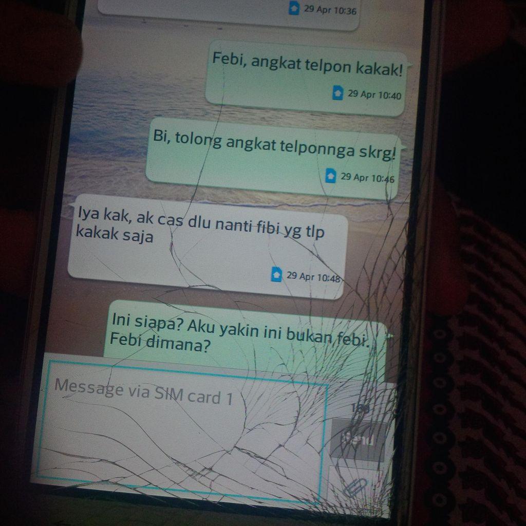 Begini Bunyi SMS Mencurigakan Orang yang Mengaku Feby kepada Ibu dan Sepupu