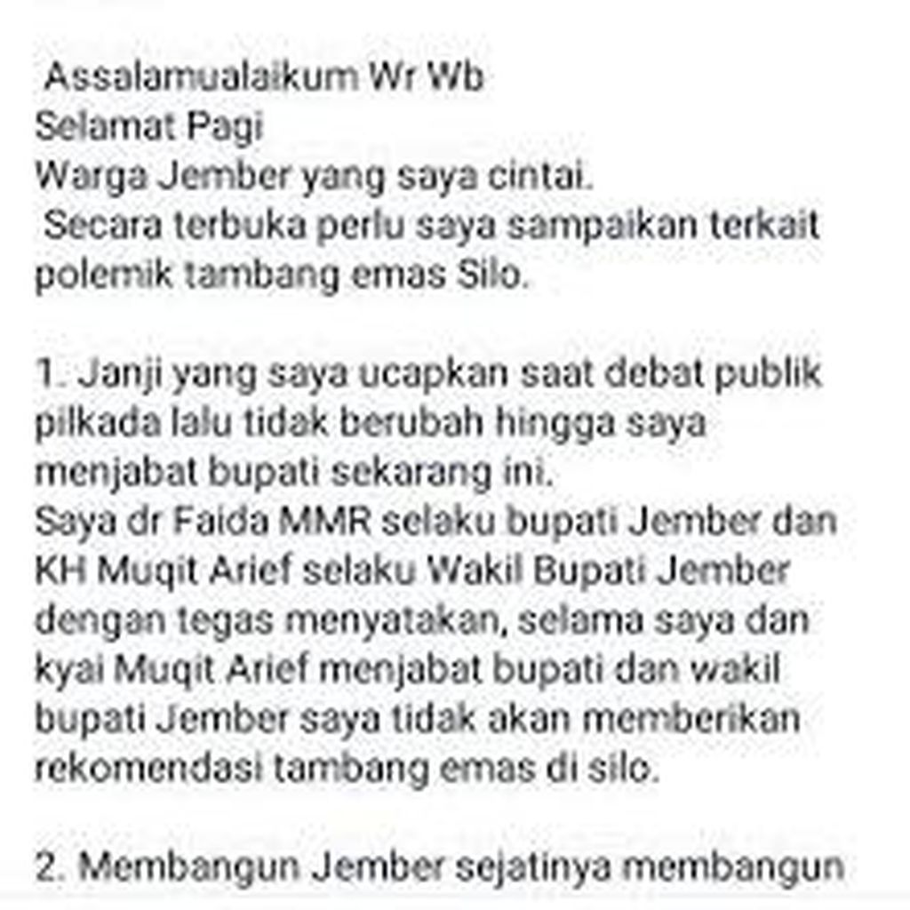 Bupati Jember Curhat di Facebook Tanggapi Demo Tolak Izin Tambang Diwarnai Adu Pukul