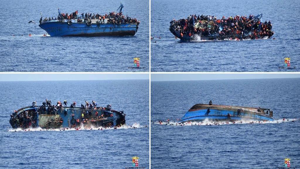 Momen Dramatis Kapal Migran Libya Terbalik di Laut Mediterania