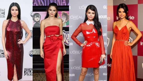 Dibalut Baju Merah, Mana Penampilan Selena Gomez Paling Seksi?
