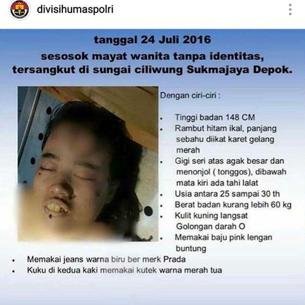 Perempuan ini Ditemukan Tewas di Ciliwung, Ada yang Kenal? Silakan Kontak Polisi