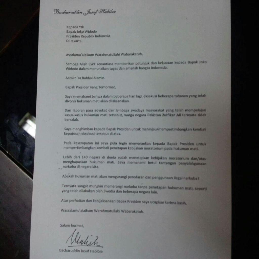 Surat Habibie untuk Jokowi Bukan Penyebab Eksekusi Zulfiqar dkk Ditunda