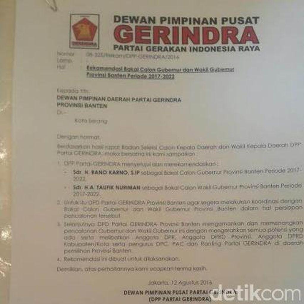 Pimpinan Gerindra Mengaku Belum Tahu Rano Karno Diusung Jadi Cagub Banten