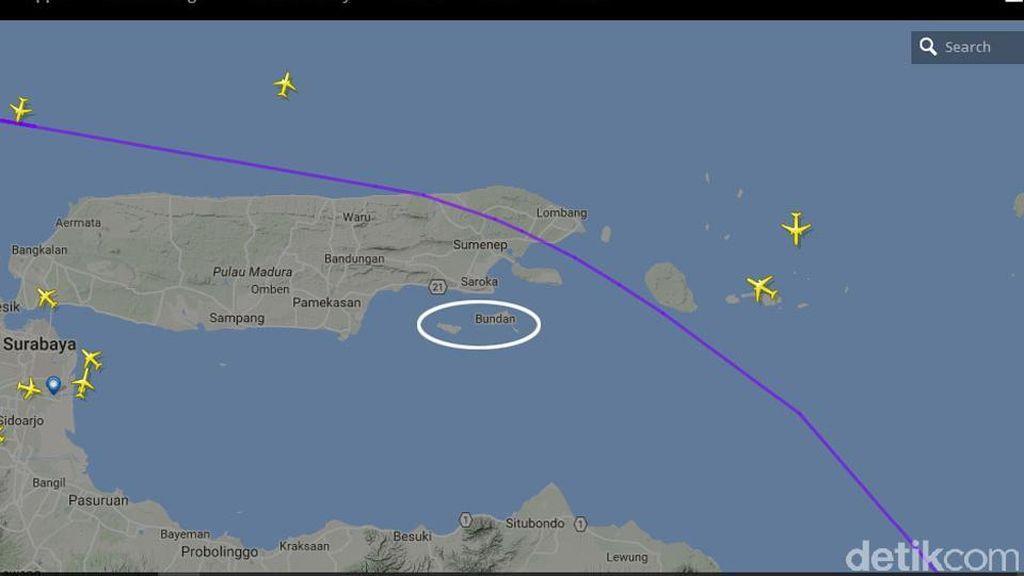 Jalur Pesawat dan Gambaran Lokasi Penemuan Benda Mencurigakan di Sumenep