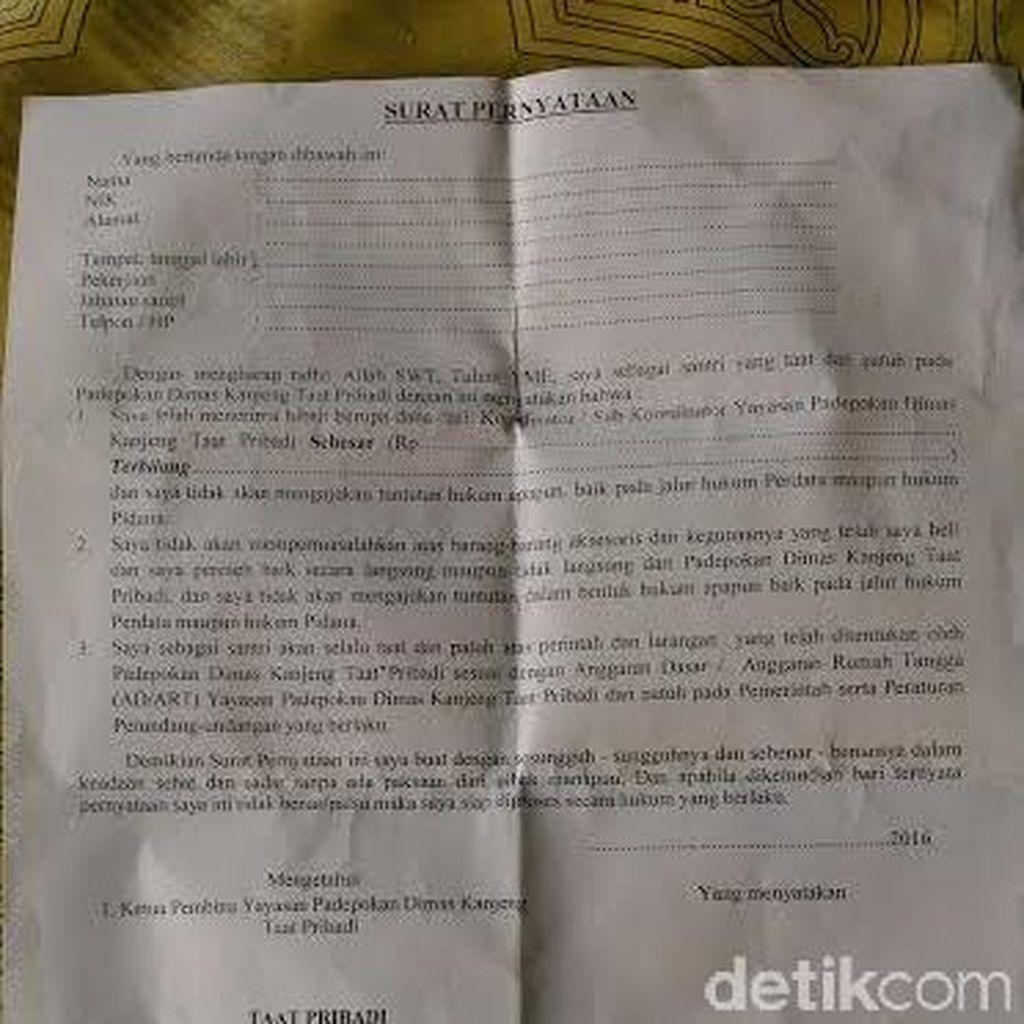 Beredar Surat Pernyataan Penerimaan Hibah Untuk Pengikut Dimas Kanjeng