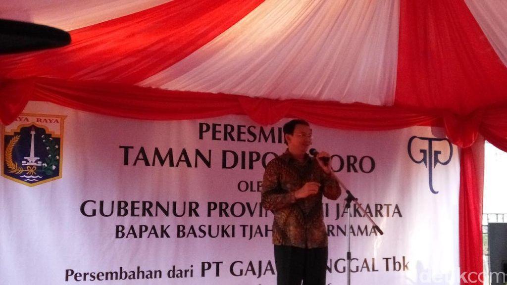 Ahok Jadikan Bekas SPBU dan Pasar di Jalan Diponegoro Jadi RPTRA