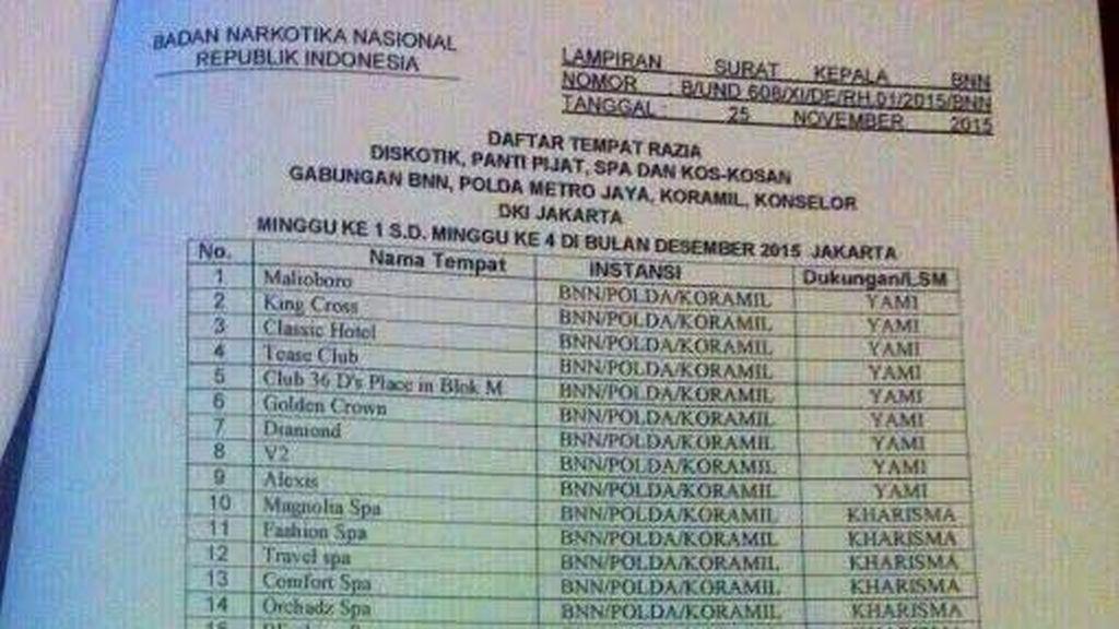 BNN: Hoax Dokumen Rencana Razia Gabungan di Tempat Hiburan Malam di Jakarta