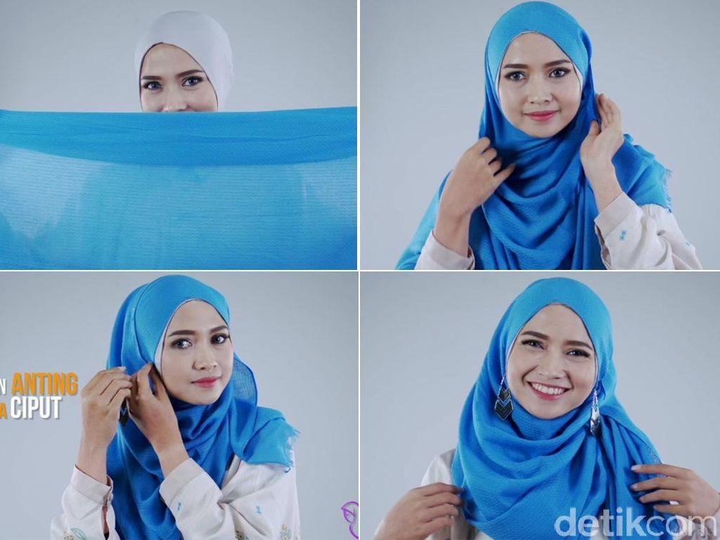Tak Sampai 2 Menit, Tutorial Hijab dengan 2 Anting Ala Si Cantik Pandan Sari