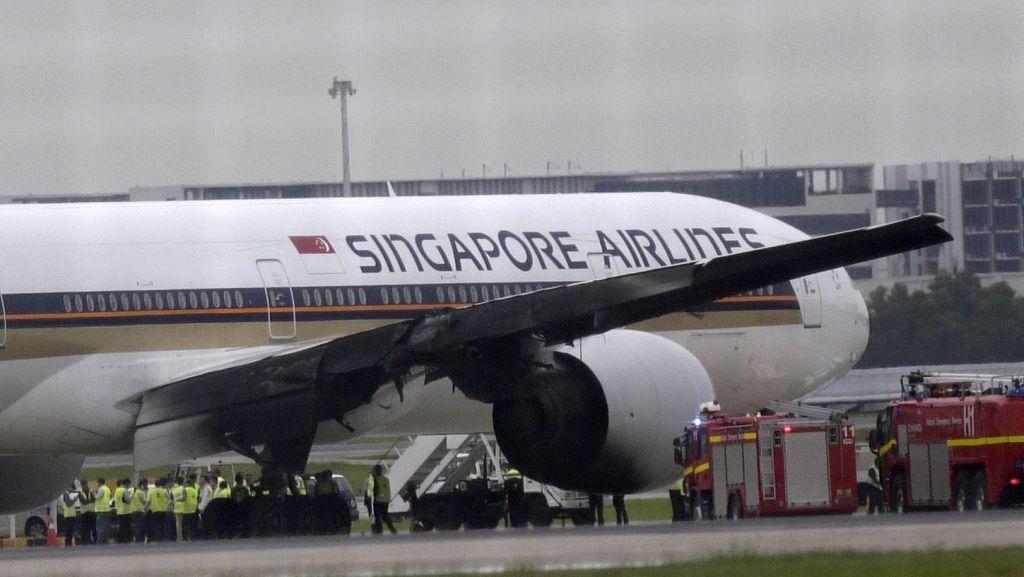 Sayap Singapore Airlines Gosong Setelah Terbakar 20 Menit, Ini Penampakannya