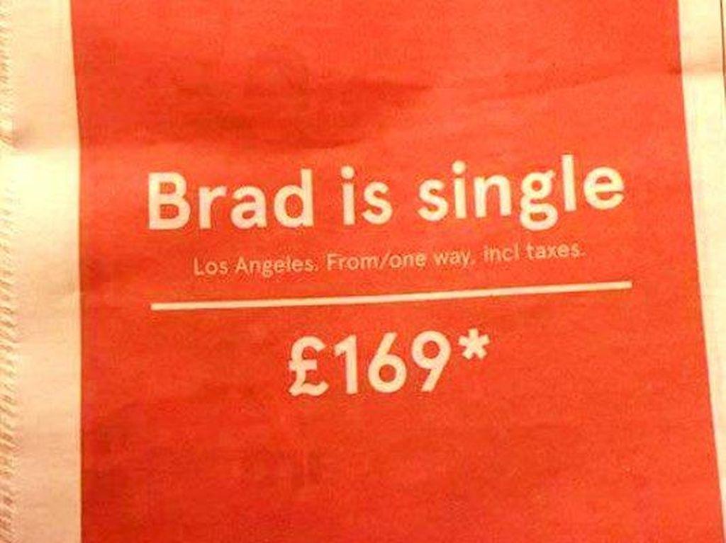 Brad Pitt Single, Maskapai Norwegia Tawarkan Tiket Murah ke AS