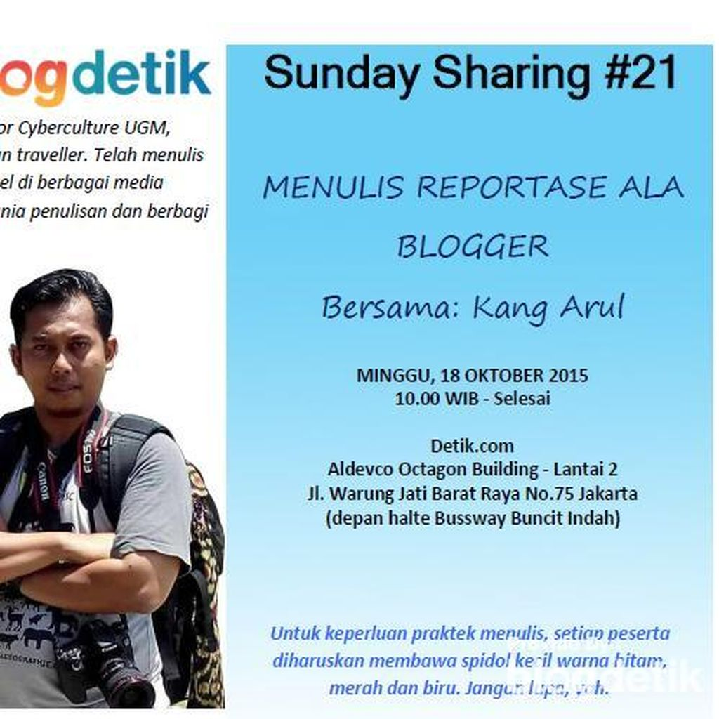 Segera Daftar di Sunday Sharing #21 untuk Bisa Menulis Reportase!