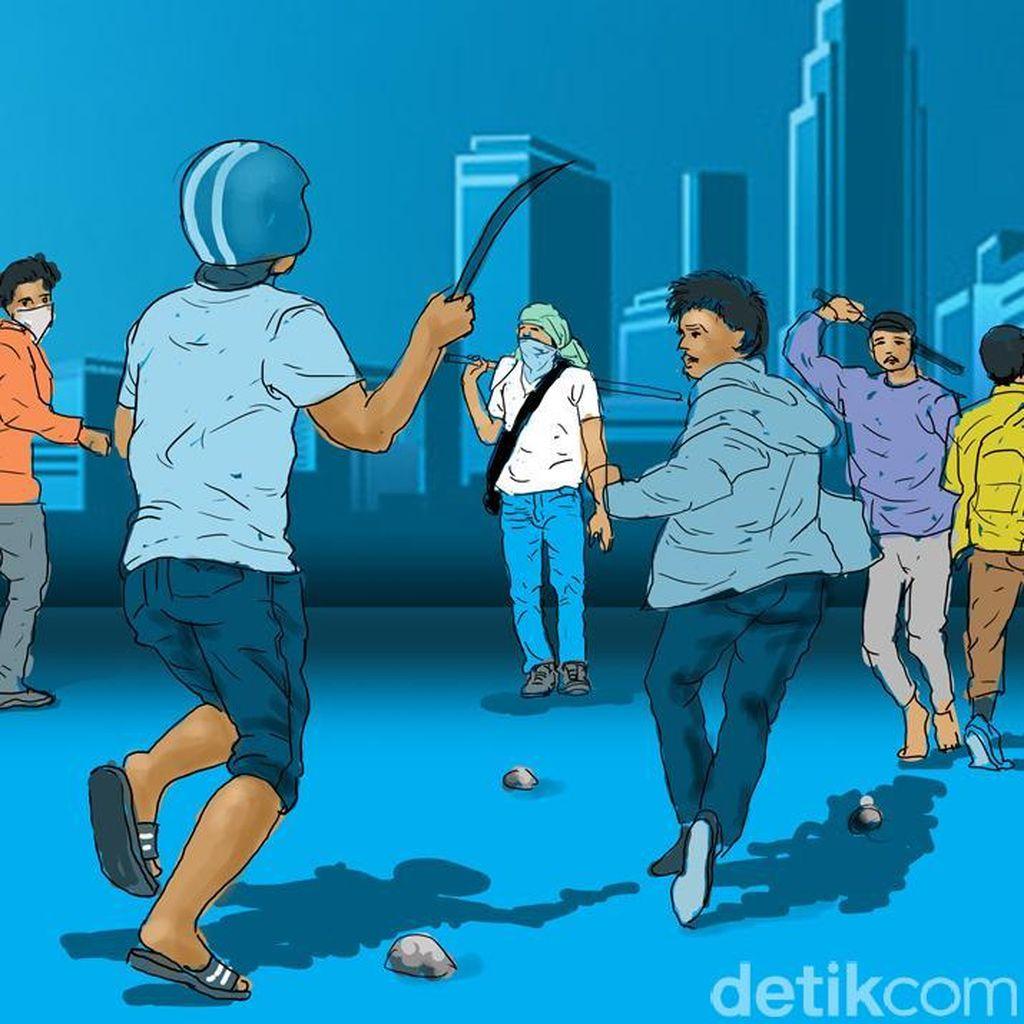 Bawa Sajam Hendak Tawuran, 10 Pelajar Ditangkap di Kembangan Jakarta Barat