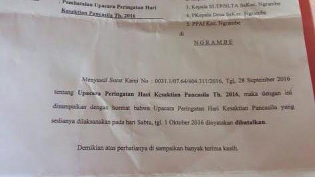 Pemkab Ngawi Belum Dengar Surat Pembatalan Upacara Hari Kesaktian Pancasila