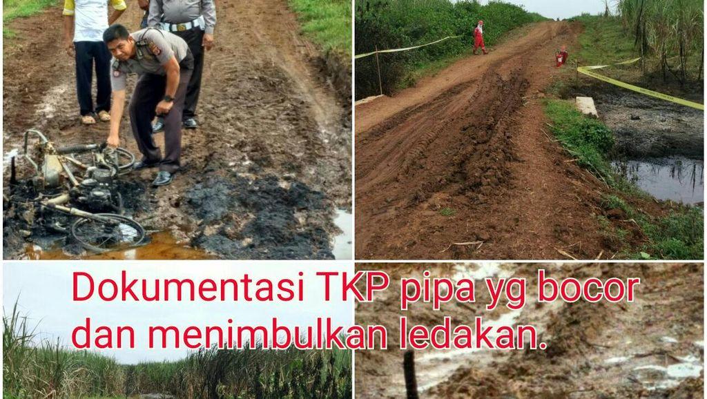 Ledakan Pipa Pertamina di Indramayu, Seorang Pengendara Sepeda Motor Terbakar