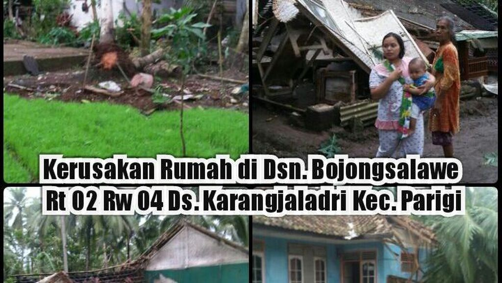 Aparat dan Warga Pangandaran Bersihkan Puing Dampak Puting Beliung