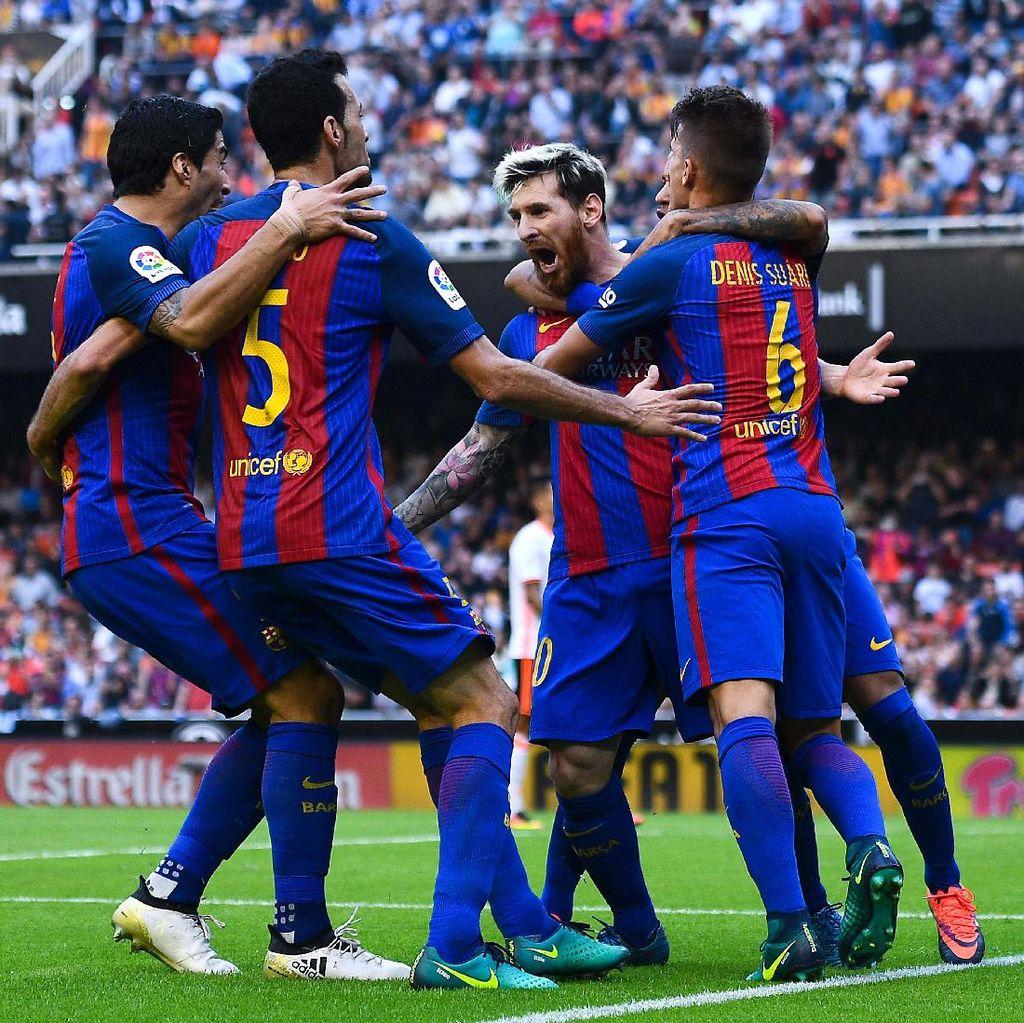 Penalti Messi di <i>Injury Time</i> Menangkan Barca atas Valencia