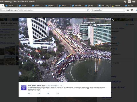 Massa Parade Bhinneka Tunggal Ika Mulai Padati Bundaran HI Sejak Subuh