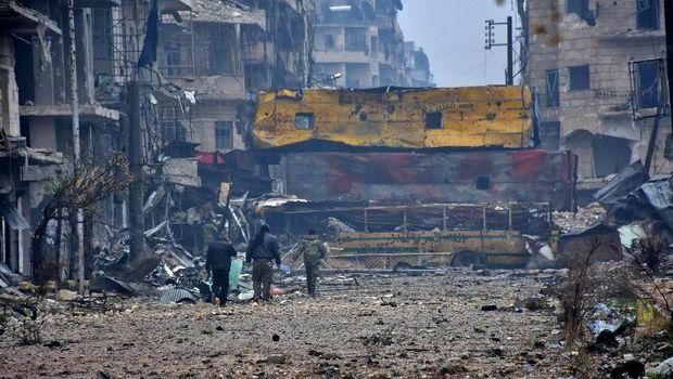 Kehancuran di kota Aleppo