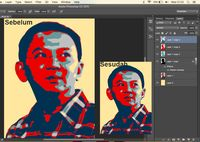 Poster Ahok sebelum dan sesudah dirapihkan manual menggunakan brush tool atau pen tool.
