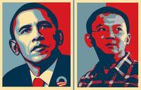 Obama Poster (kiri) yang akan dijadikan contoh untuk membuat Poster Ahok (kanan)