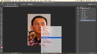Klik kanan 'layer via cut' setelah gambar Ahok diseleksi dengan background menggunakan polygonal lasso tool'.