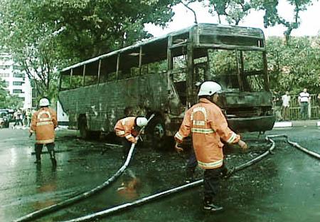 Bus PPD Hangus Terbakar