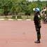 Bertindak sebagai inspektur upacara pemberangkatan 150 personel Satgas Kompi Mekanis TNI Konga XXIII-C1/UNIFIL ke Libanon adalah Kasum TNI Laksamana Madya TNI Didik Heru Purnomo. (Kadispenum Puspen TNI).