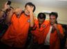 Para pelaku perampokan toko emas di Ciputat diamankan di Mapolda Metro Jaya, Senin (12/3/2012).