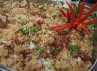 Duck Fried Rice, menu nasi yang satu ini sangat lezat. Daging bebek yang disuir halus ini dicampur dengan anasi yang digoreng. Irisan daun bawang dan taburan bawang goreng tercampur rata dalam nasi. (Dyah Oktabriawatie Waluyani/DetikFood)