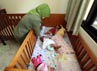 Petugas merawat bayi yang di salah satu ruangan Panti Sosial Jompo. Bayi yang ditampung di tempat ini adalah bayi yang ditinggal oleh orangtuanya.