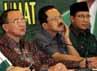 Suryadharma Ali menyatakan dukungan kepada pasangan Foke-Nara dengan didampingi Suharso Manoharsa dan Lukman Hakim Saifuddin.