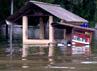 Banjir menyeret sebuah gerobak pedagang.