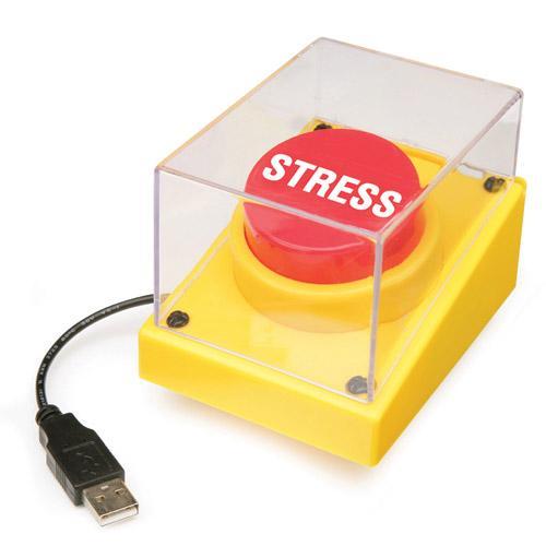 Bentuk alat bernama USB Stress Button ini cukup unik. Tinggal taruh di sebelah laptop Anda dan sambungkan ke colokkan USB. Jika mulai stres, langsung saja tekan tombolnya dan selanjutnya akan muncul animasi ledakan bom atom di komputer Anda. (Kredit fotoL Silicon India)
