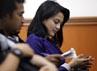 Istri Freddy Budiman, Anggita Sari hadir dalam sidang vonis tersebut.